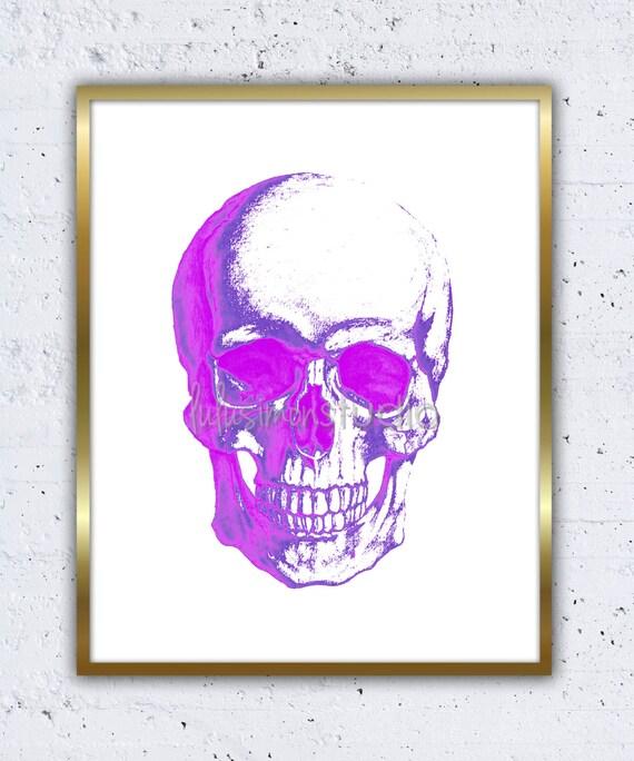 Pink skull art print wall decor home decor by lulusimonstudio for Skull home decor