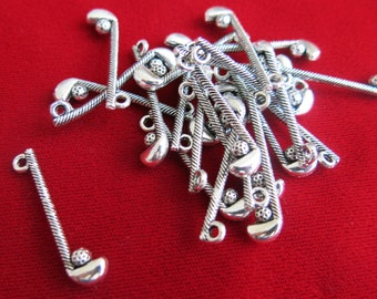 "10pc ""golf club"" charms in antique style silver (BC102)"