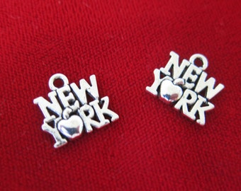 "10pc ""New York"" charms in antique silver style (BC306)"