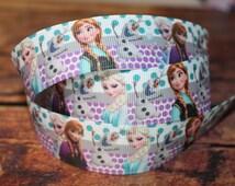"""5 Yards of Green & Purple Polka Dot Frozen 1"""" Grosgrain Ribbon"""