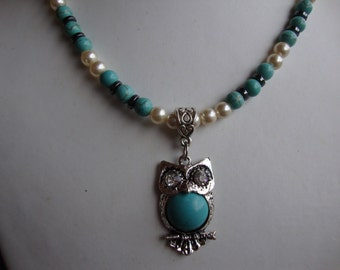 owl necklace vintage glass pearl turquoise howlite and hematite beaded necklace