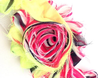 Shabby Rose Flower Trim--Hot Pink and Black Stripes with Yellow