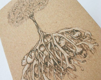 Tree of bodies Art Card, Dark Creepy Gothic Art Drawing 100% recycled card