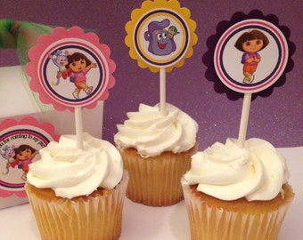 Dora the explorer cupcake toppers, Dora the explorer toppers, 12 per order