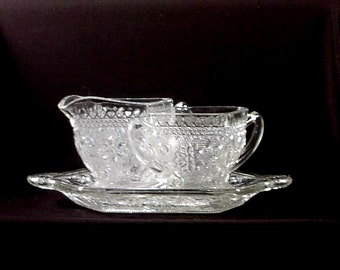 Indiana Tiara Sandwich Glass Cream Sugar Tray Set