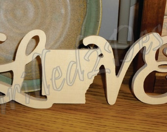 Love State Decoration Script - Wooden and Unpainted