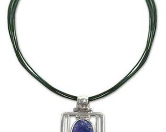 Sterling Silver, Lapis Lazuli and Leather Hinge Necklace