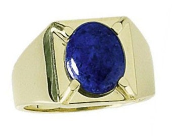 Heavy Chevalier 18K Gold Ring with Lapis Lazuli