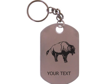 Personalized Engraved Buffalo Stainless Steel Dog Tag Keychain