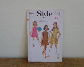"""1970 Dress Pattern, Girls Chest 28.5"""", Mini Dress, Style 3051."""