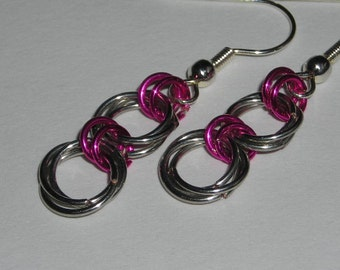Silver and Fushia Chainmaille Earrings