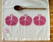 Pomegranate Tea Towel - Fruit Kitchen Towel, Silk Screen Printed Towel, Hostess and Gourmet Gift, Garnet Red, Folk Art Style, Ready to Ship