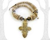 Maji: Brass Ethiopian cross. Necklace and earring set.