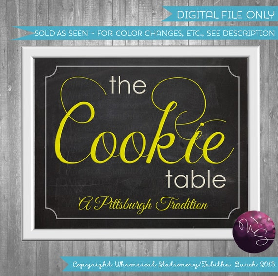 Diy Wedding Cookie Tables: Cookie Table Sign Wedding (Printable File Only) Pittsburgh