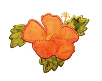 "Hibiscus Flower Applique Machine Embroidery Design Pattern in 3 sizes 4"", 5"" and 6"""