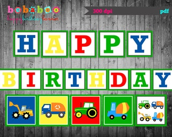 Trucks Tractors Happy Birthday Banner / Trucks Tractors Birthday Party Digital/Trucks Tractors Banner/Printable Banner/ Birthday Banner/DIY