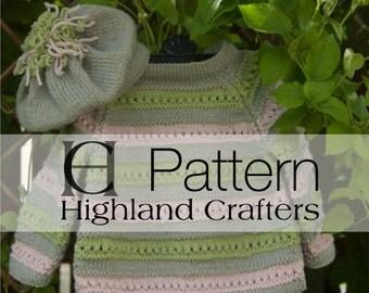 Striped Jumper and Beret, Childs Jumper, Childs Beret,  Knitting Pattern,  Instant Download Pdf
