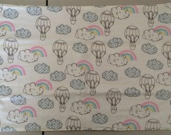 Hot Air Balloons and Rainbows Flannel & Cotton Burp Cloth