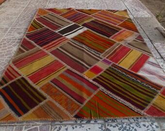 Turkish PATCHWORK  kilim rug 5,10X4,0