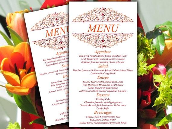 DIY Wedding Menu Card Template Fall Wedding By PaintTheDayDesigns