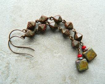 Long Brown Dangle Earrings, Bohemian Earrings, Earthy Geometric Earrings, Brown Dangle Earrings