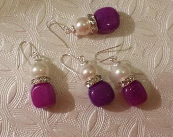 Purple Pearl Drop Earrings, 10 mm