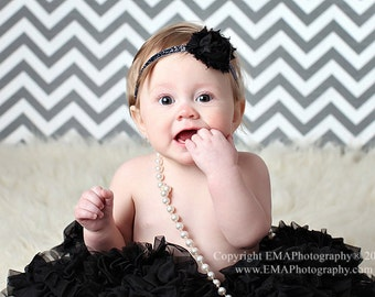 Black Shabby Headband, Black Headband, Shabby Headband, black birthday headband, black flower headband, black infant headband, black clip