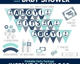 Pale Teal, Black Navy Nautical Boy Baby Shower Package, Banner, Cupcake toppers and wraps, Thank You tags and cards, Food labels, ( PDN086 )