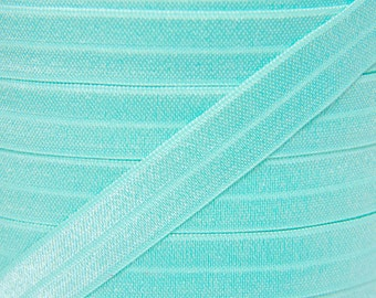 Aqua Fold Over Elastic - Elastic For Baby Headbands and Hair Ties - 5 Yards of 5/8 inch FOE