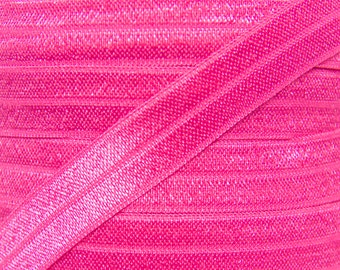 Hot Pink Fold Over Elastic - Elastic For Baby Headbands and Hair Ties - 10 Yards of 5/8 inch FOE