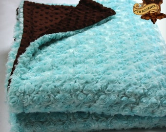 FUR ACCENTS Minky Cuddle Fur Throw Blanket / Reversible / Teal Mint Rosebud with Chocolate Brown