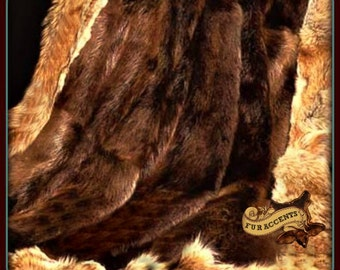 Faux Fur Throw Blanket -  Luxurious Brown Bear - Beaver Pelt Center - Coyote Wolf Border- Minky Cuddle Fur - Fur Accents Original Design USA