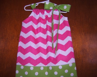 Girls Pillowcase Dress, Pink Chevron, Lime Green Polka Dots, 3month-8years, Toddler, Infant Girl, Baby, Spring, Summer, Baby Girl Clothing