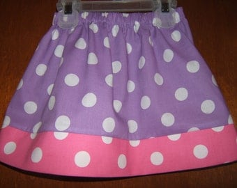 Girls Twirl Skirt, Purple and Pink Polka Dots, 12month-6years, Baby, Toddler Girl, Beach Vacation, Spring, Summer, Birthday Party, Lilac