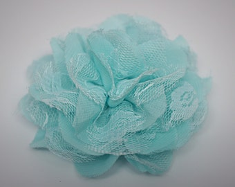 """Two Aqua 3.75"""" Fabric Flowers - Lace Flowers - Lace Flowers - Shredded lace flower - Chiffon Flower - Lace rose - Wholesale - Supply - DIY"""
