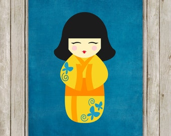 8x10 Japanese Kokeshi Doll Art Print, Japanese Traditional Dolls Art, Native Print, Nursery Decor, Wall Poster, Instant Digital Download