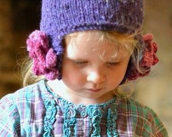 KNITTING PATTERN - girls ' Wild Berry ' aviator hat