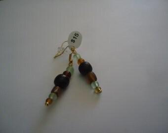 Green, Amber and Black Earrings