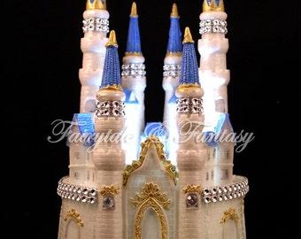 Castle Cake Topper Cinderella Fairytale Wedding or Sweet 16 or 15 - LIGHTED