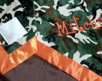 FREE SHIPPING Personalized Baby Blanket with Camo Camouflage Minky . You choose colors, minky or satin back.