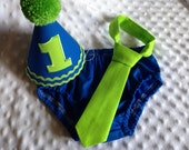 Boys Cake Smash Set - Blue and Green - Royal and Lime - Diaper Cover, Tie & Birthday Hat - Birthday Outfit - Mix and Match Any Solid Colors