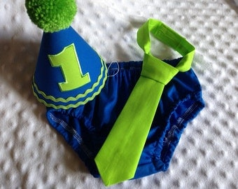 Cake Smash Outfit Boy - Boys Cake Smash Outfit - Blue and Green - Royal and Lime - Diaper Cover, Tie & Birthday Hat -  Mix and Match Colors