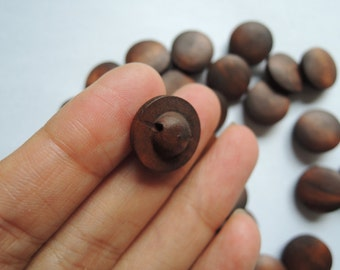 20Pcs 15mm Brown Wood button Hole on back  (W876)