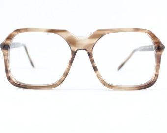 Vintage 70s Eyeglass Frame   Clear Smoky Brown Oversized Square Glasses   NOS 1970s Eyeglasses   Deadstock Eyewear - Tony Oak
