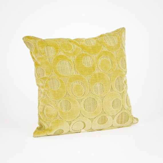 Soft Retro Throw Pillow in Lime Green Velour Decorative
