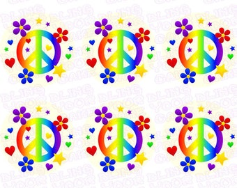 Peace Sign Inspired Edible Icing Cupcake Decor Toppers