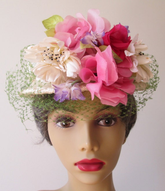 items similar to vintage flowered hat white woven straw