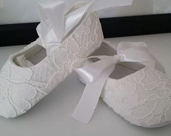 Chantilly Lace Covered Baby Christening, Flowergirl, Birthday, Party Shoes