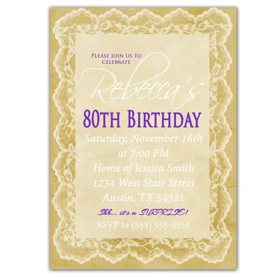 80Th Birthday Invite as luxury invitations template