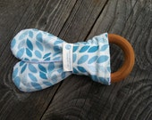 SALE - Blue Vine Natural Maple Teether - Organic Fabric